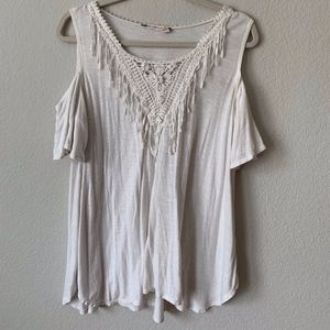 Cream Boho Shoulder-less Top